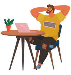 Happy man chilling on his working place relaxed vector
