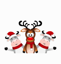 happy reindeer and two bull vector image
