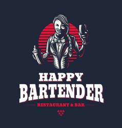 happy woman bartender or barman young girl at vector image