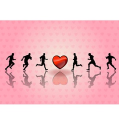 Heart and runners on the background vector