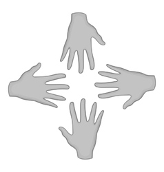 Helping hands icon black monochrome style vector