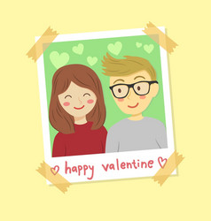 instant photo frame valentine couple vector image