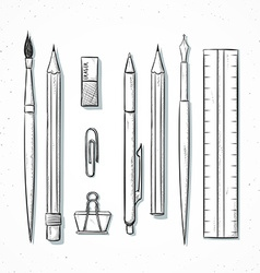 Isolated set stationery handmade in sketch style vector image