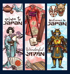 japan culture sketch banners vector image