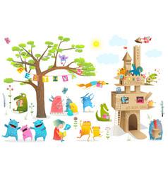 kids characters cardboard castle festival elements vector image