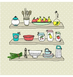 Kitchen utensils on shelves sketch drawing vector