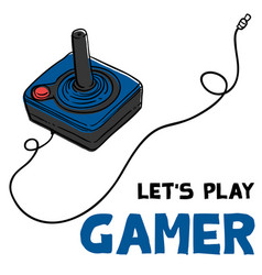 lets play gamer joystick background image vector image