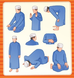 Moslem praying position vector