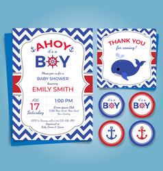 Nautical theme bashower invitation birthday pa vector