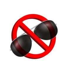no black sun glasses prohibition sign vector image