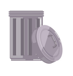 Open metal garbage bin container with lid isolated vector
