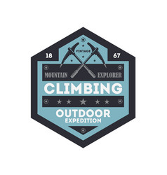 Outdoor rock climbing vintage isolated badge vector