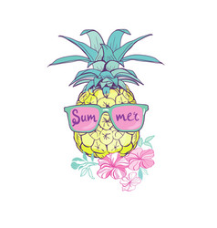 Pineapple with glasses design exotic background vector