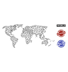 Polygonal network mesh map of world and vector