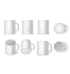 realistic detailed 3d white blank cup template vector image