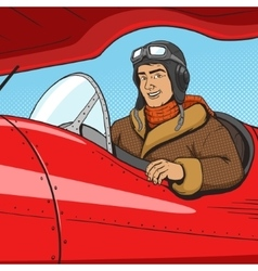 Retro pilot in vintage plane pop art style vector image