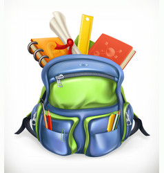 Schoolbag backpack with school supplies 3d icon vector