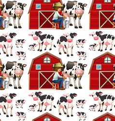 Seamless background with cows and farmers vector