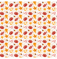 seamless pattern with acorns pumpkin and autumn vector image