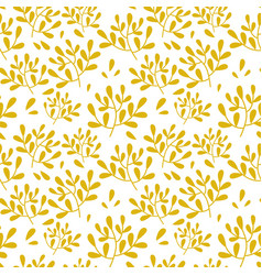 seamless yellow leaves pattern on white vector image