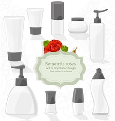 Set cosmetic bottles of different shapes vector image