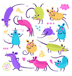 set funny rats for design cute little mice in vector image