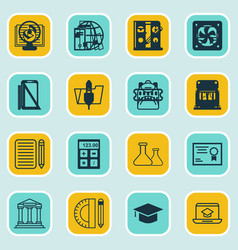 set of 16 education icons includes haversack vector image
