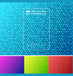 Set of abstract technology dots pattern on blue vector