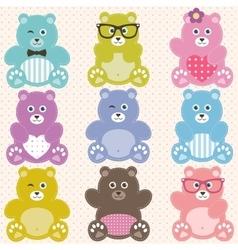 Set of cute teddy bears vector