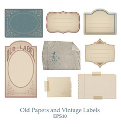 set of old papers stained bent and spoiled and vector image