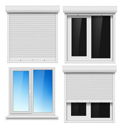 Set of pvc windows and metal roller blind vector
