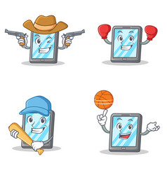 Set of tablet character with cowboy boxing vector