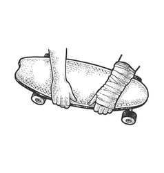 Skateboard and broken arm sketch vector