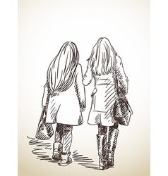 sketch two walking woman with long hair hand drawn vector image