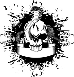 skull and snake vector image vector image