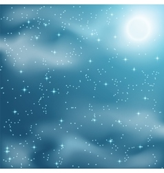 Stars and clouds on the night sky vector image