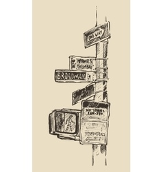 Street Sign in New York Broadway Times Square vector