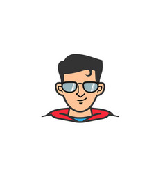 super hero geek head logo vector image