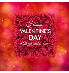 Tender floral red Valentines Day card design vector