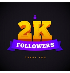 Thank you 2000 followers card thanks design vector image