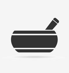 Tibetan singing bowl black flat isolated icon vector