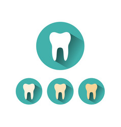 Tooth flat icon on different green circles with vector