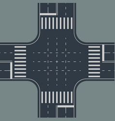 Top view to crossroad on gray back vector