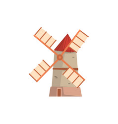 traditional european windmill medieval building vector image
