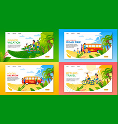 travel or summer vacation landing page flat set vector image