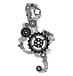 Treble clef made of gears vector