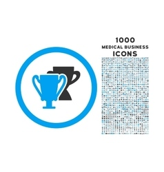 Trophy Cups Rounded Icon with 1000 Bonus Icons vector image