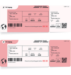 Two boarding passes red flight airline tickets vector