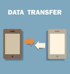 two smart phone while transfer data vector image