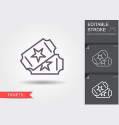 two tickets line icon with editable stroke vector image